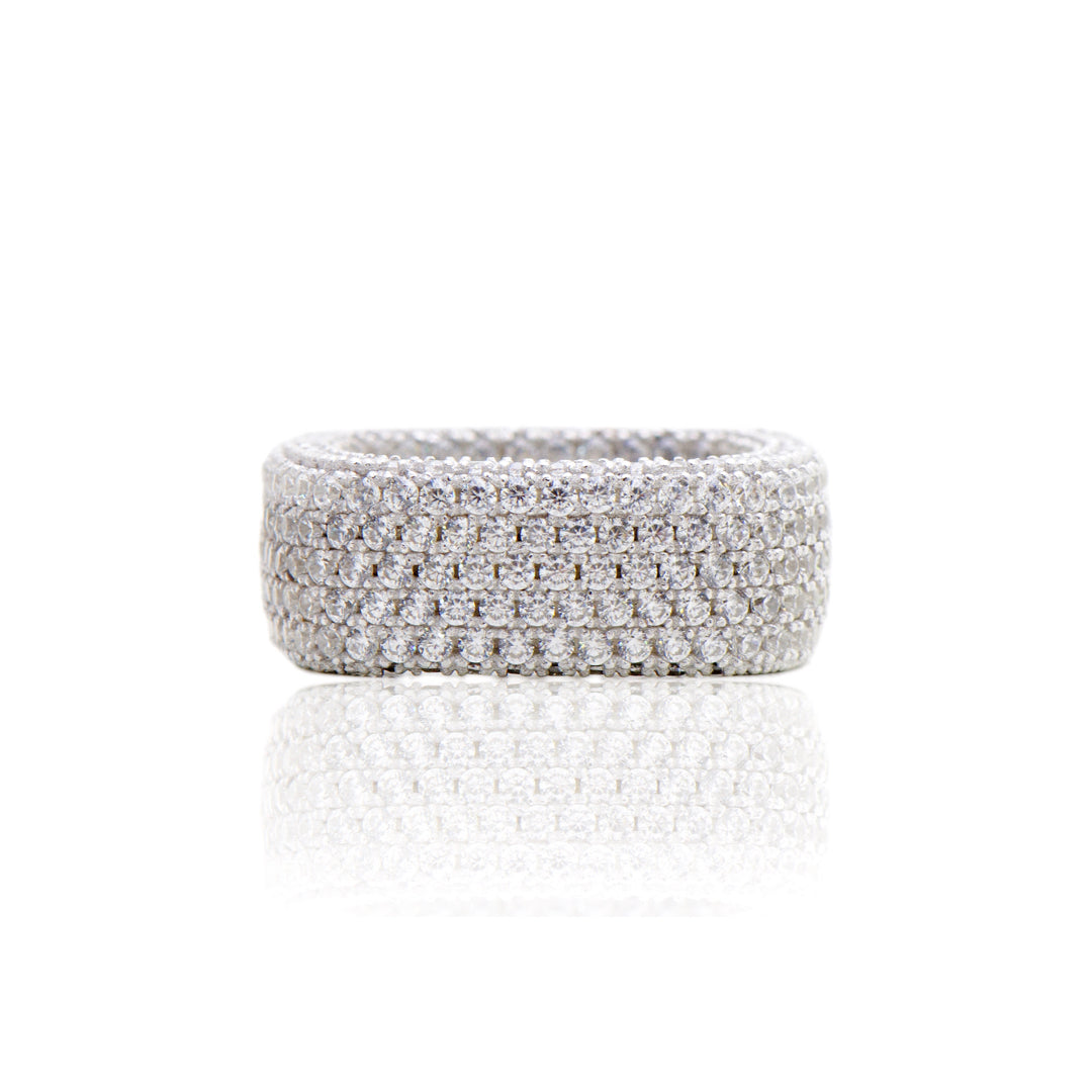 'LOUISE' Fully Studded DiamondB L Band Ring | BAND RINGS | BECKY JEWELRY