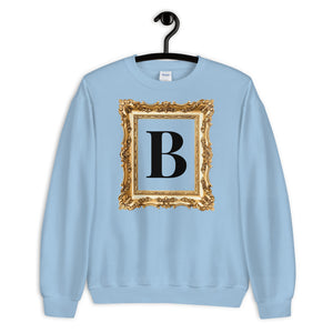 GOLDEN FRAME ® Personalized Black Monogram Gold Vintage Frame Unisex Sweatshirt | | BECKY THE LABEL - luxury accessories & jewelry brand