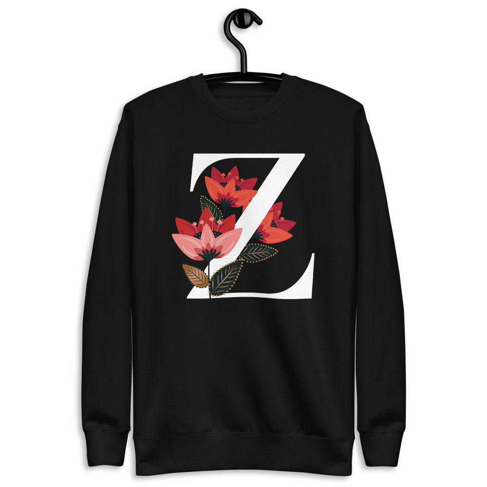 FLOWERGRAM ® Monagram 'Z' Unisex Fleece Pullover | | BECKY THE LABEL - luxury accessories & jewelry brand