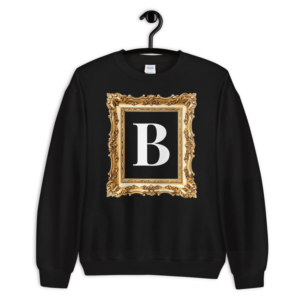 GOLDEN FRAME ® Personalized White Monogram Gold Vintage Frame Unisex Sweatshirt |  | BECKY JEWELRY
