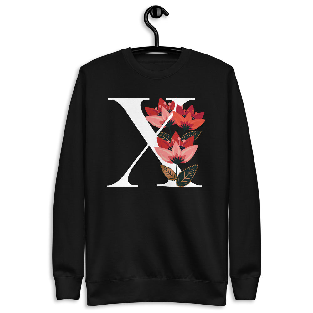 FLOWERGRAM ® Monagram 'X' Unisex Fleece Pullover | | BECKY THE LABEL - luxury accessories & jewelry brand