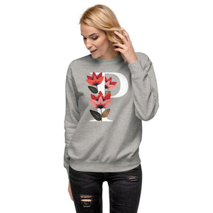 FLOWERGRAM ® Monagram 'P' Unisex Fleece Pullover | | BECKY THE LABEL - luxury accessories & jewelry brand