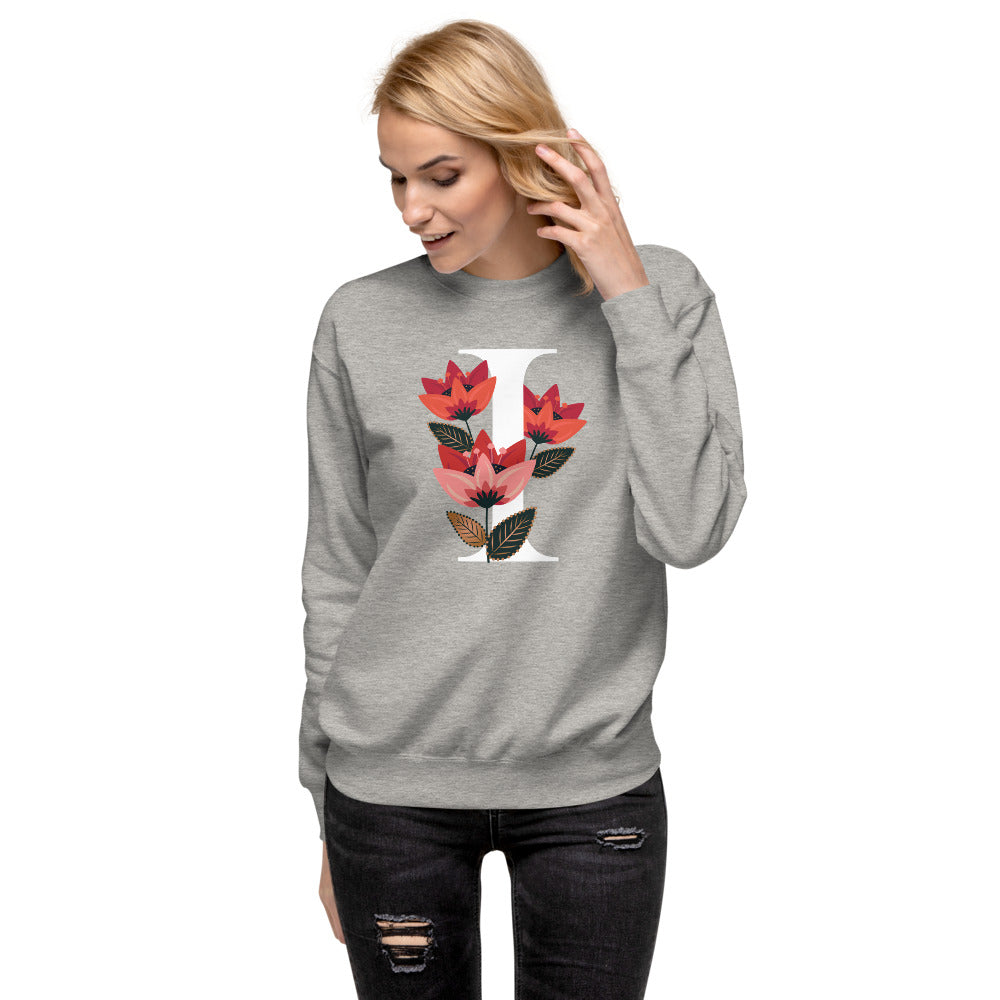 FLOWERGRAM ® Monagram 'I' Unisex Fleece Pullover | | BECKY THE LABEL - luxury accessories & jewelry brand
