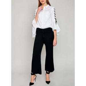 Black Wide Leg Knit Pant - Bottoms