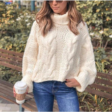 Load image into Gallery viewer, Cream Turtleneck Sweater - Sweater