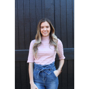 Pretty in Pink Mock-Neck Top - Top