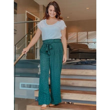 Load image into Gallery viewer, Hunter Green Polka Dot Palazzo Pants - Bottoms