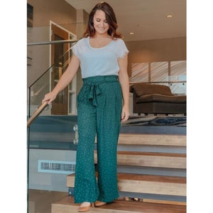 Hunter Green Polka Dot Palazzo Pants - Bottoms