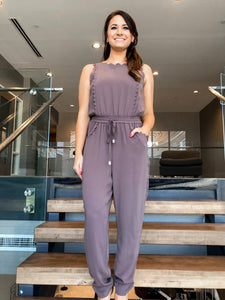 Mocha Scallop Jumpsuit