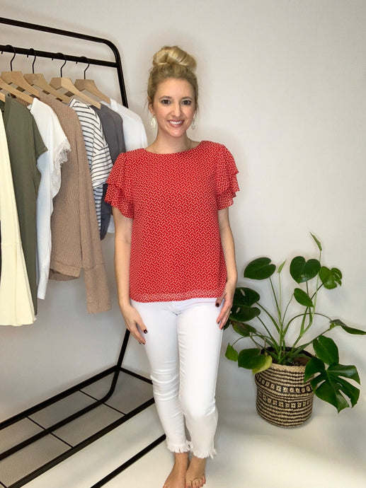 Red Heart Ruffle Top