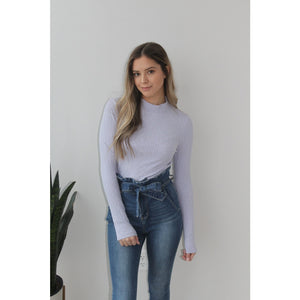 Lavender Long-Sleeve Ribbed Turtleneck - Top
