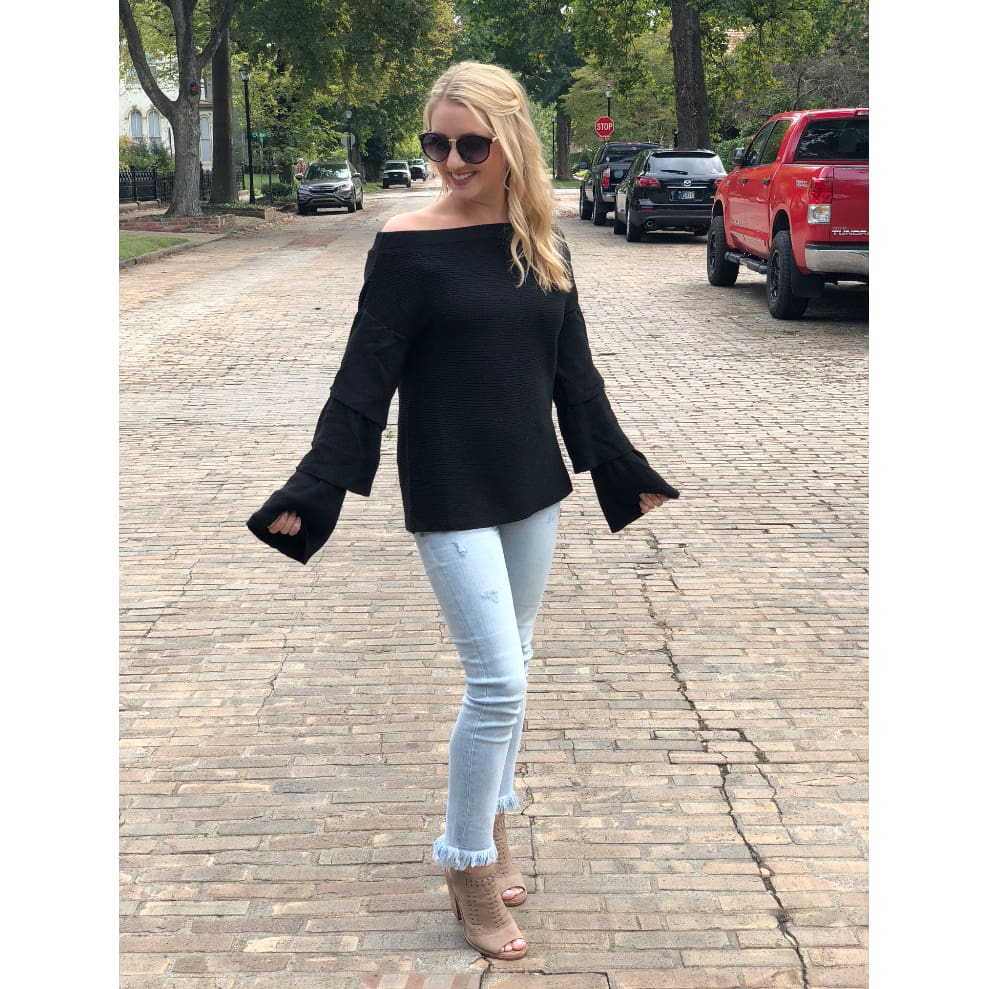 Joselle Off The Shoulder Black Sweater - Sweater