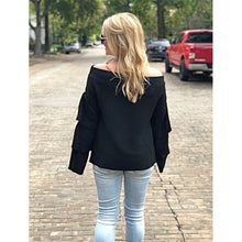 Load image into Gallery viewer, Joselle Off The Shoulder Black Sweater - Sweater