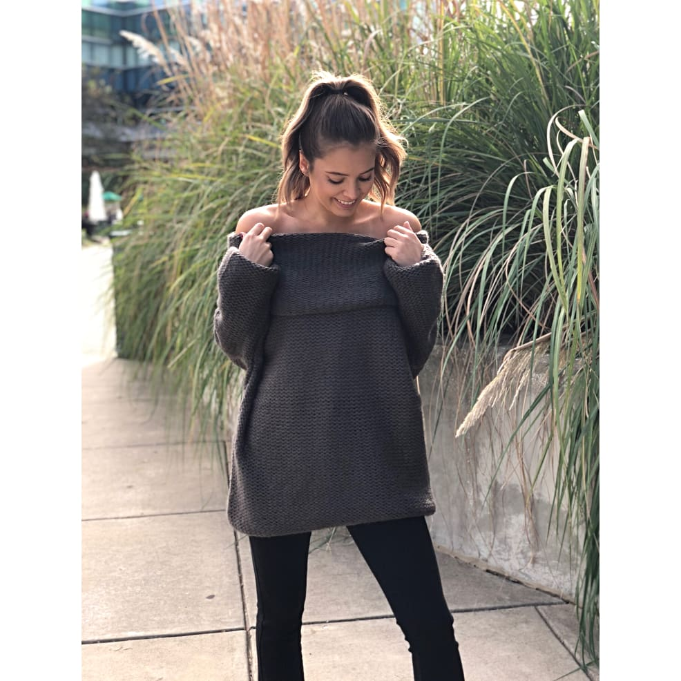 Charcoal Cowl Neck Sweater - Sweater