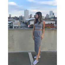 Load image into Gallery viewer, Grey Side-Stripe Tank And Midi Skirt Set - Dress