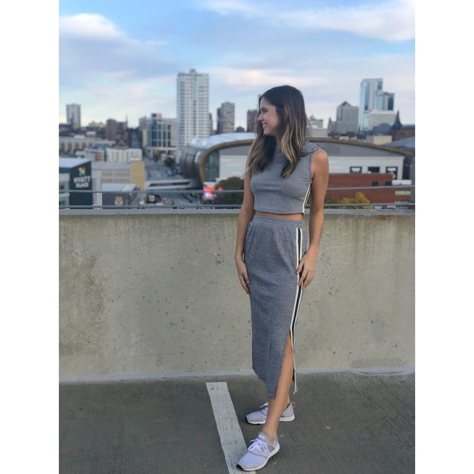 Grey Side-Stripe Tank And Midi Skirt Set - Dress