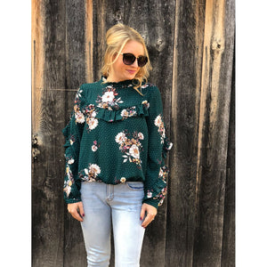 Hunter Green Ruffle Print Top - Top