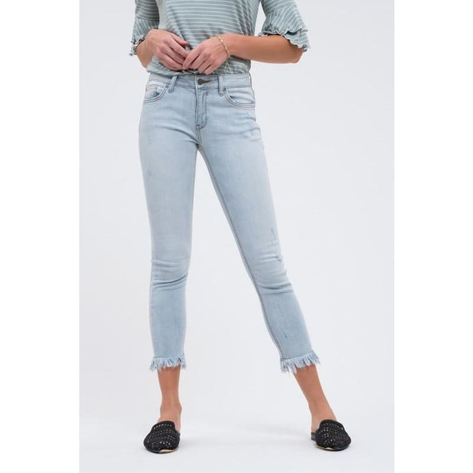 Light Wash Fray Hem Skinny Jeans - Bottoms