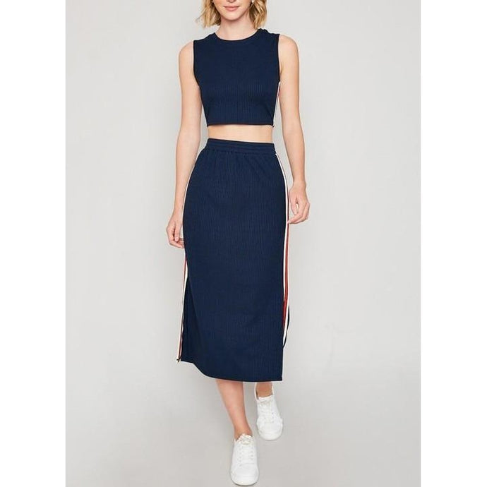 Navy Side-Stripe Tank And Midi Skirt Set - Final Sale - Dress