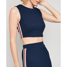 Load image into Gallery viewer, Navy Side-Stripe Tank And Midi Skirt Set - Final Sale - Dress