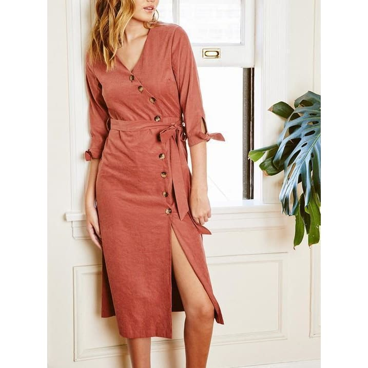 Plunging V-Neck Button Down Midi Dress - Dress