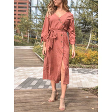 Load image into Gallery viewer, Plunging V-Neck Button Down Midi Dress - Dress