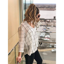 Load image into Gallery viewer, Ivory Plaid Twisted Shirt - Top