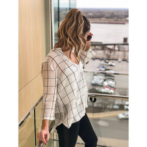 Ivory Plaid Twisted Shirt - Top