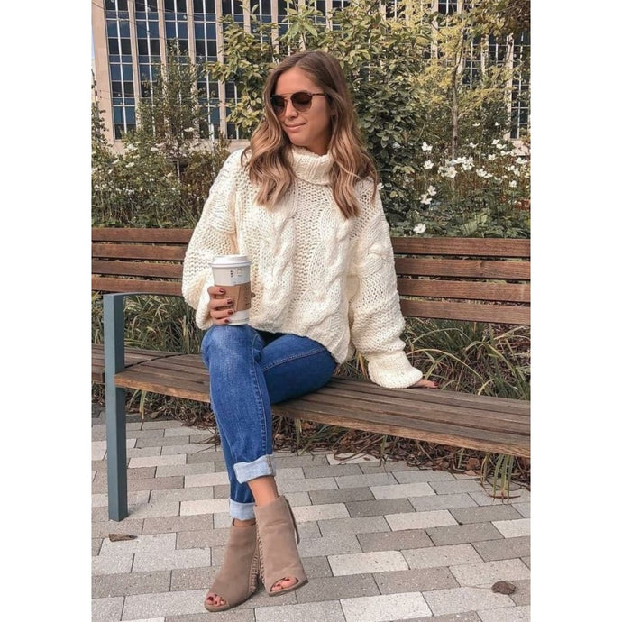 Cream Turtleneck Sweater - Sweater
