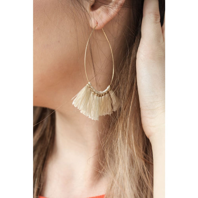 Ivory Frayed Earrings - Earrings