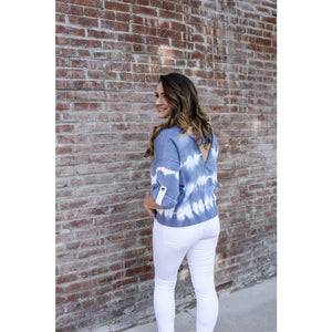 Blue Tie Dye Sweater - Top
