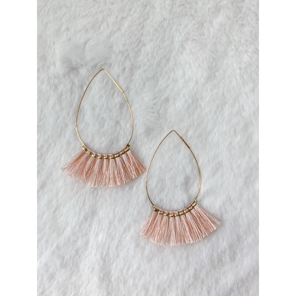 Pink Frayed Earrings - Earrings