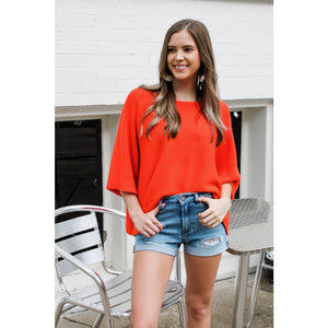 Orange Cropped Knit Top - Top
