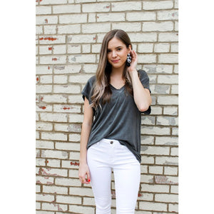 Basic Black V-Neck Top - Top