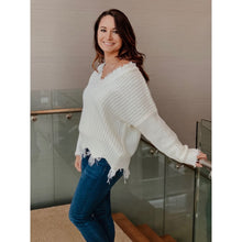 Load image into Gallery viewer, White Frayed V-Neck Sweater - Sweater