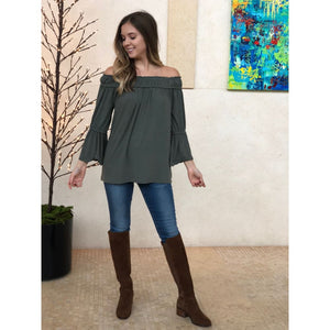 Olive Off Shoulder Flare Top - Top