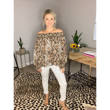 Load image into Gallery viewer, Snake Print Off the Shoulder Top - Top