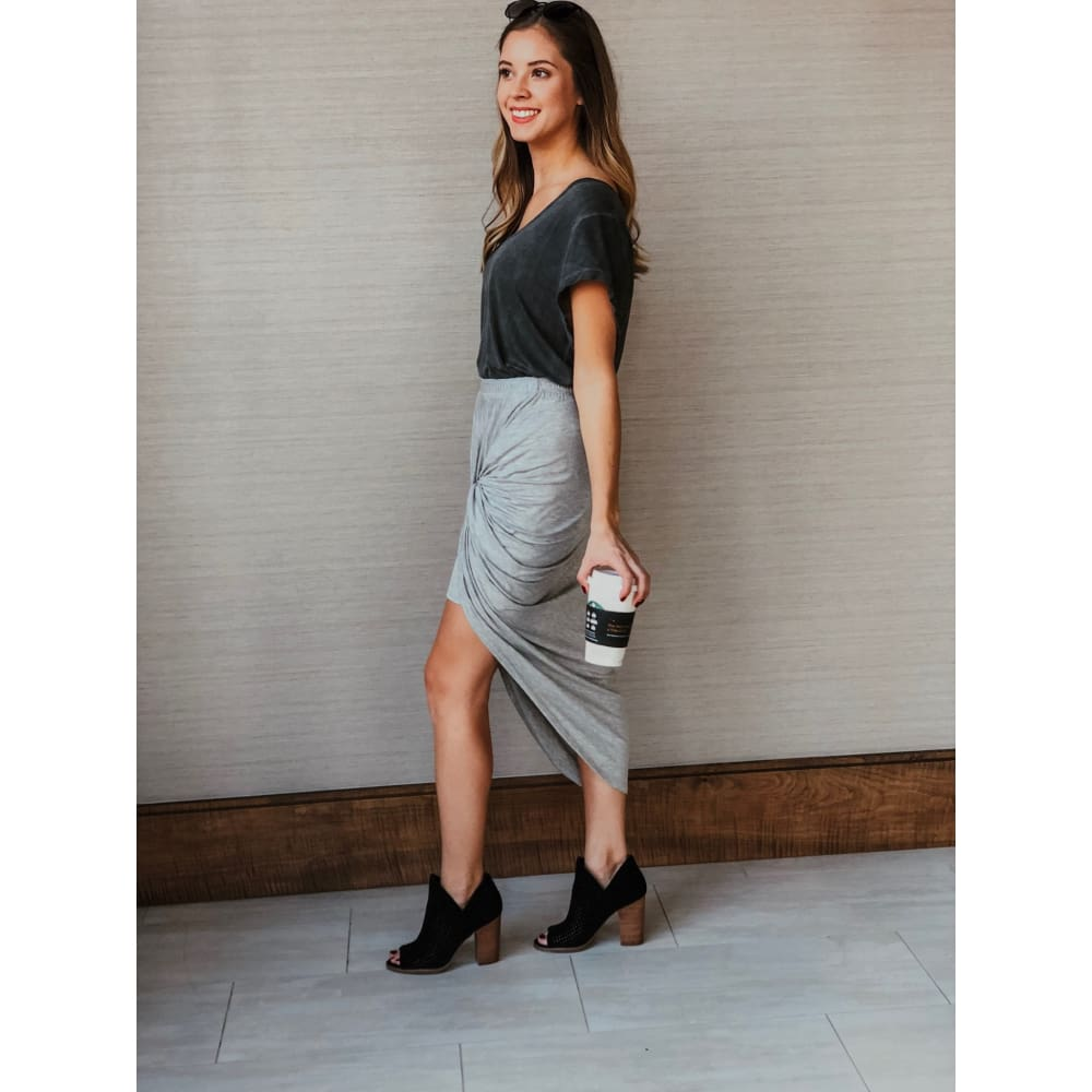 Grey High-Waist Skirt - Dress