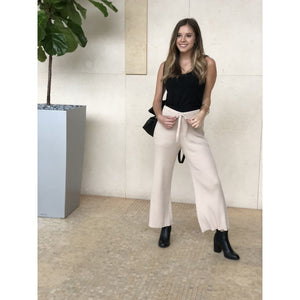 Tan Wide Leg Knit Pant - Bottoms