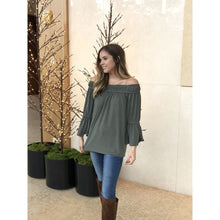 Load image into Gallery viewer, Olive Off Shoulder Flare Top - Top