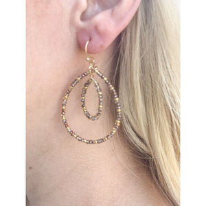 Beaded Hoop Earrings - Earrings