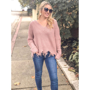 Mauve Frayed V-Neck Sweater - Sweater