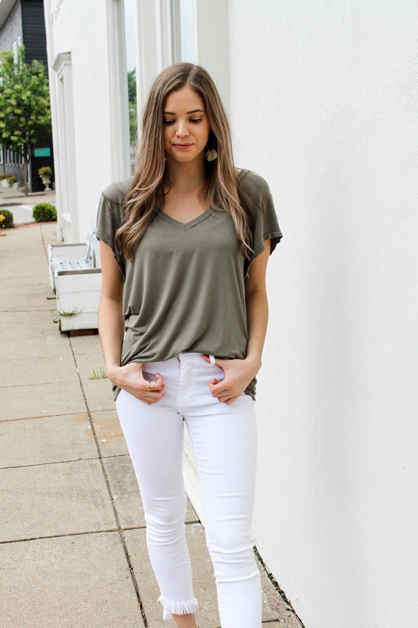 Basic Olive V-Neck Top