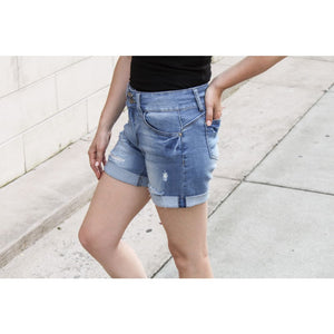Mid Rise Jean Shorts - Bottoms