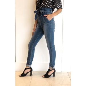High Waist Bow Skinny Jeans - Bottoms