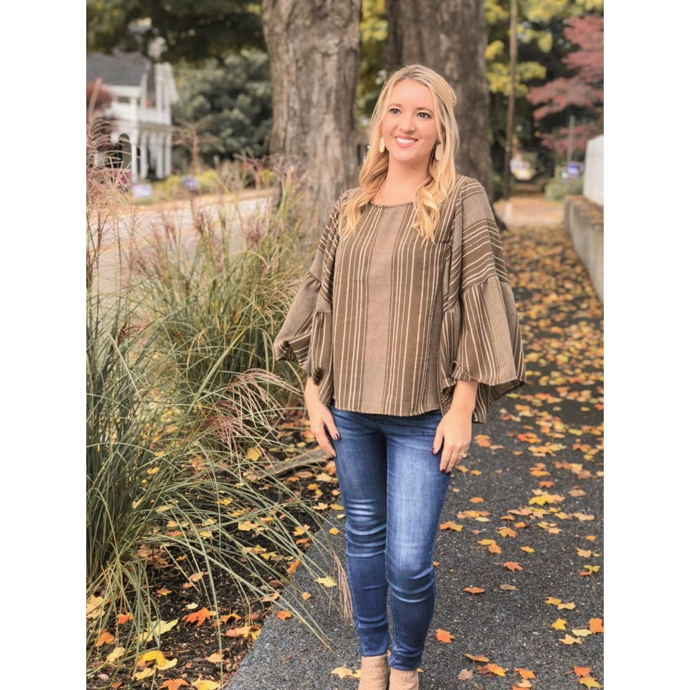 Olive Striped Ruffle Sleeve Top - Top