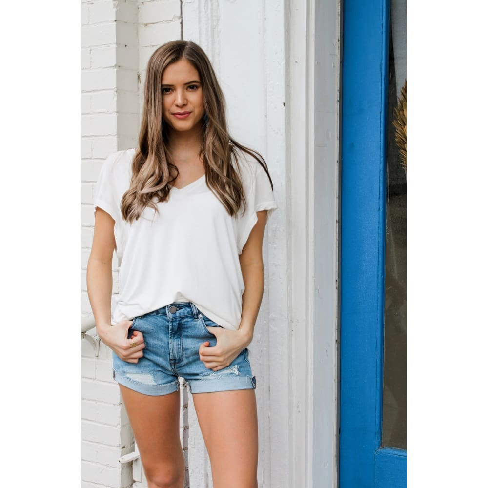 Basic White V-Neck Top - Top