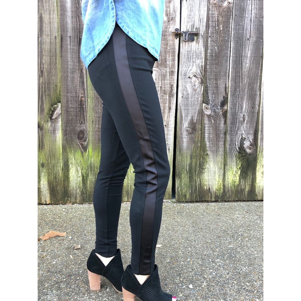 Black Satin Leggings - Bottoms