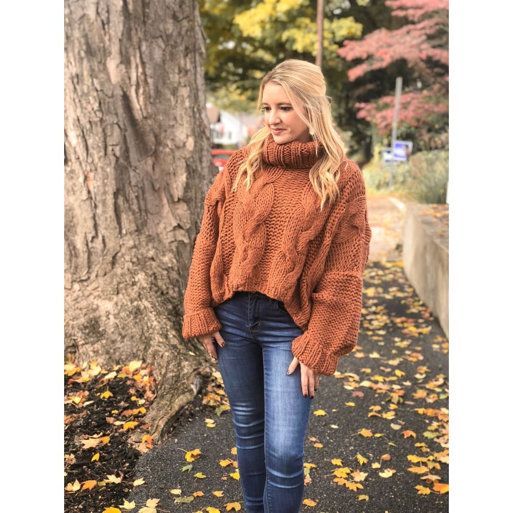 Rust Turtleneck Sweater - Sweater