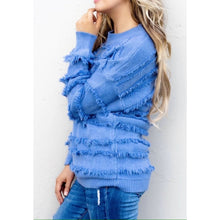 Load image into Gallery viewer, Cobalt Fringe Sweater - Sweater